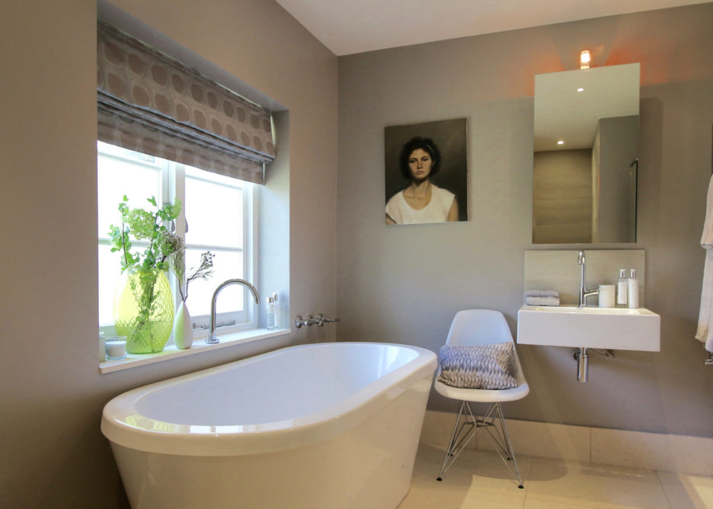 Cream contemporary bathroom