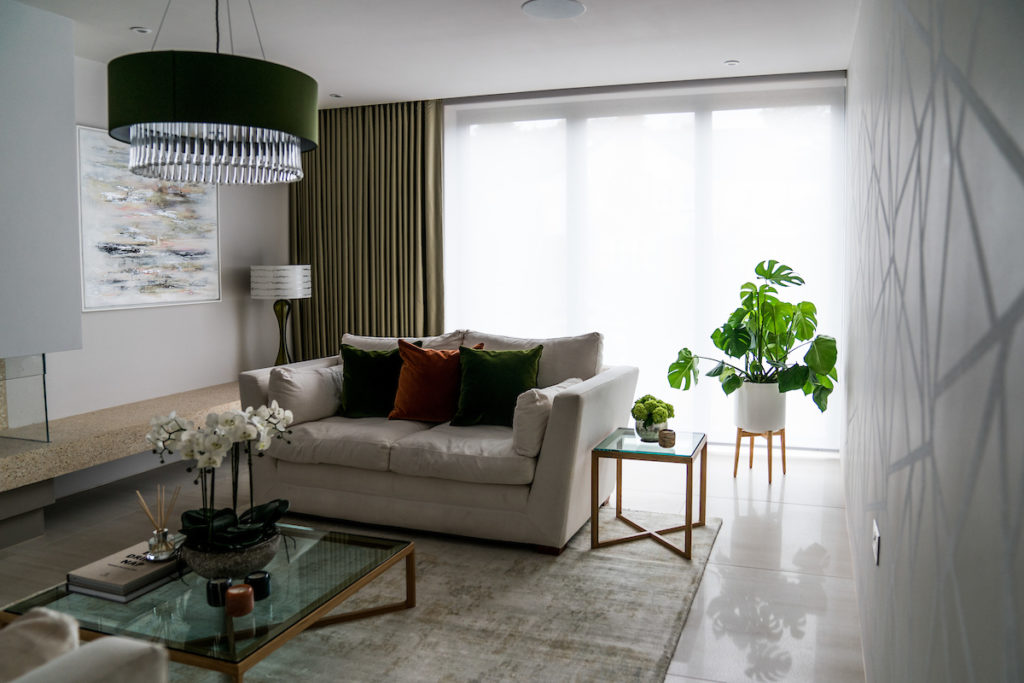 Living Room design with textured wallpaper