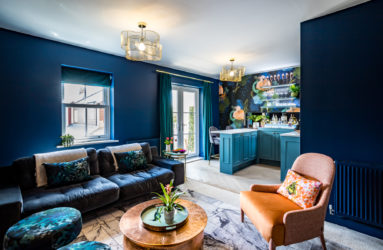 Dark blue and copper living room
