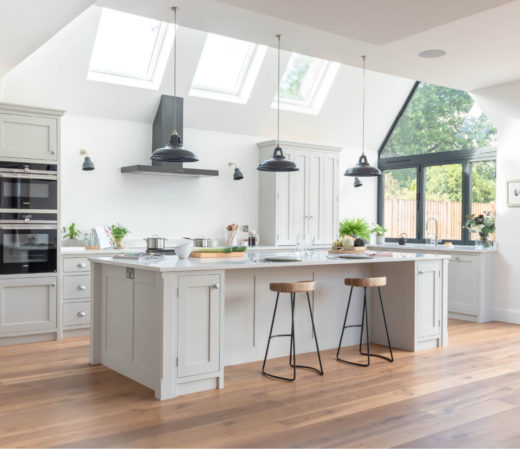 White kitchen with crittal doors and windows